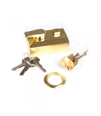 NV216Y - Night Latch & Rim Cylinder - Gold Chrome Effect Finish, with Keys