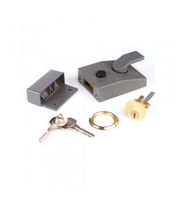 NV216YA - Yale 88 Night Latch & Rim Cylinder - Grey Finish, with Keys